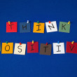 THINK POSITIVE - sign or wording on noticeboard for business, seminars, mentoring, coaching. — Stock Photo