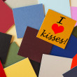 I love kisses! Sign for relationships & office romance — ストック写真