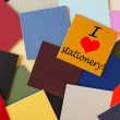 Royalty-Free Stock Photo: I love stationery! Sign in words & letters - for office, education, business.