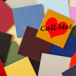 Call Me - Ring Me - I Love You! - business office post its sign, office romance! — Stock fotografie