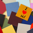 I Love You - business, office post its sign - office romance! — Stock Photo