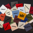 Hello, Bonjour, Nichiwa! Hello in different languages - Sign or Poster. — Foto Stock