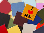 I love sex! Sign for relationships, health & romance. — ストック写真