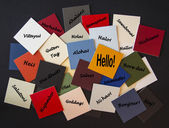 Hello, Bonjour, Nichiwa! Hello in different languages - Sign or Poster. — Stock Photo