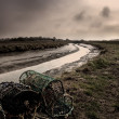 Marshes & Crab Pot Fishing - Lincolnshire, England - Stock Photo