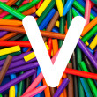 Stock Photo: Letter V. Alphabet for education, schools, teaching.