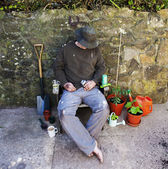 The Grubby, Dozing Gardener. — Stock Photo