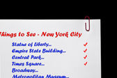New York City - Landmarks Checklist. — Stockfoto