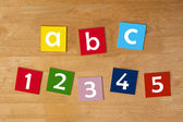 A b c & 1 2 3 4 5 - word sign series for school children. — Stock Photo