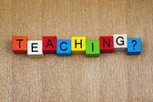 Teaching in words on childrens' building blocks — Stock Photo