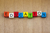 Education in words on childrens' building blocks — Stok fotoğraf