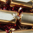 Christmas Crackers with blank labels - red, gold, silver and gre — Photo