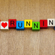 Постер, плакат: Running sign for athletics runners joggers fitness and heal