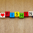 Fishing - sign for anglers and angling — Stock Photo