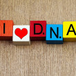I Love DNA  - sign for science and genetics — Stock Photo