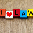 I Love Law - sign for education and law — Stock Photo