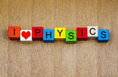 I Love Physics - sign for education, discovery and knowledge — Fotografia Stock