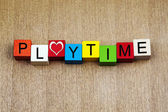 Playtime - sign for education, fun, holidays and vacations — Stock Photo