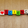 Stock Photo: I Love Science - sign for discovery and knowledge