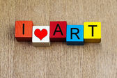 I Love Art - sign for education, art and culture — Стоковое фото