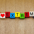 I Love Extreme - sign for sports — Stock Photo