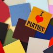 I Love Parties - sign for office party or celebration — Stock Photo #33896397