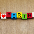 I Love Perth, Australia - sign series for cities, travel — Stock Photo
