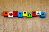 I Love Amsterdam, Netherlands - sign series for cities, travel — Stock Photo