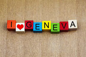 I Love Geneva, Switzerland - sign series for cities, travel — Stock Photo