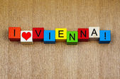 I Love Vienna, Austria - sign series for cities, travel — Stock Photo