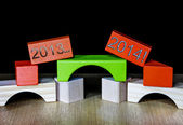 2013 fading into 2014 - concept for New Years resolutions — Stock Photo