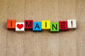 I Love Maine, USA, sign series for American states, travel — 图库照片