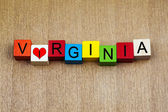 I Love Virginia, USA, sign series for American states and travel — 图库照片