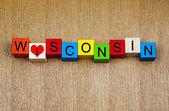 Amo a wisconsin, estados unidos, muestra la serie para viajes y vacaciones — Foto de Stock