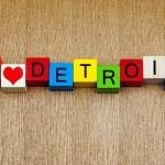 I Love Detroit, Michigan, sign series, American cities, travel, — Stock Photo