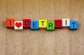 I Love Detroit, Michigan, sign series, American cities, travel, — Stockfoto