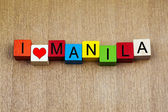 I Love Manila, Philippines, sign series for travel and holidays — Stockfoto