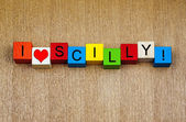 I Love Scilly, Cornwall, sign series for travel, holiday islands — Stock Photo