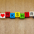 Stock Photo: I Love Yorkshire, sign for English counties and place names