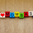 I Love Mombasa, Kenya, sign series for travel and holidays — Stock Photo