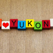 I Love Yukon, Canada, sign series for travel and place names — Stock Photo