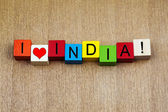 I Love India, sign series for countries, travel and place names — 图库照片