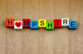 I Love Hampshire, sign for English counties and place names — Foto Stock