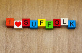 I Love Suffolk, sign for English counties and place names — Stock Photo
