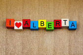 I Love Alberta, Canada, sign series for travel and holidays — Foto Stock
