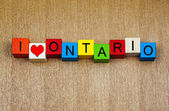 I Love Ontario, Canada, sign series for travel and holidays — Stock Photo