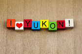 I Love Yukon, Canada, sign series for travel and place names — Foto Stock