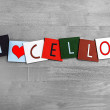 Stock Photo: I Love Cello, sign series for music, musical instruments, orches