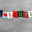 Stock Photo: I Love Flute, sign series for music, gigs, and orchestra