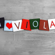 Stock Photo: I Love Viola, sign series for music, musical instruments